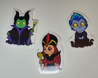 Disney Villains Jafar, Maleficent, Hades Stickers | Hades Sticker | Maleficent Sticker | Jafar Sticker | Cute Chibi Stickers for Parties