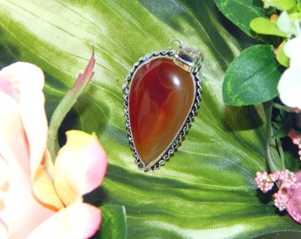 Egyptian Ifrit Djinni inspired vessel - Handcrafted Fire Agate pendant necklace