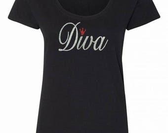 Diva//Glitter T-Shirt // Diva Mom, Diva Grandmother, Diva Beauty Queen, Diva Mom, Parade Diva, Rodeo Diva, Prom Diva