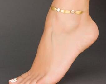 Gold Personalized Anklet • Boho Ankle Bracelet • Initial Ankle Bracelet in Gold Fill • Gold Anklet • Gold Leaf Anklet • Foot Jewelry| 0064AM