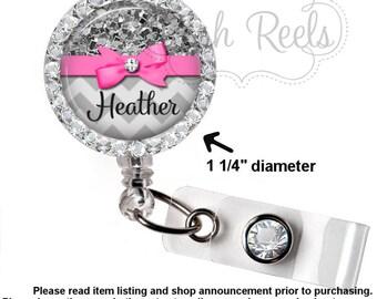 Retractable Badge Holder - Personalized Gray Glitter Chevron Badge ID Reel, Rhinestone Badge Reel - Bling Badge Reel - 0020
