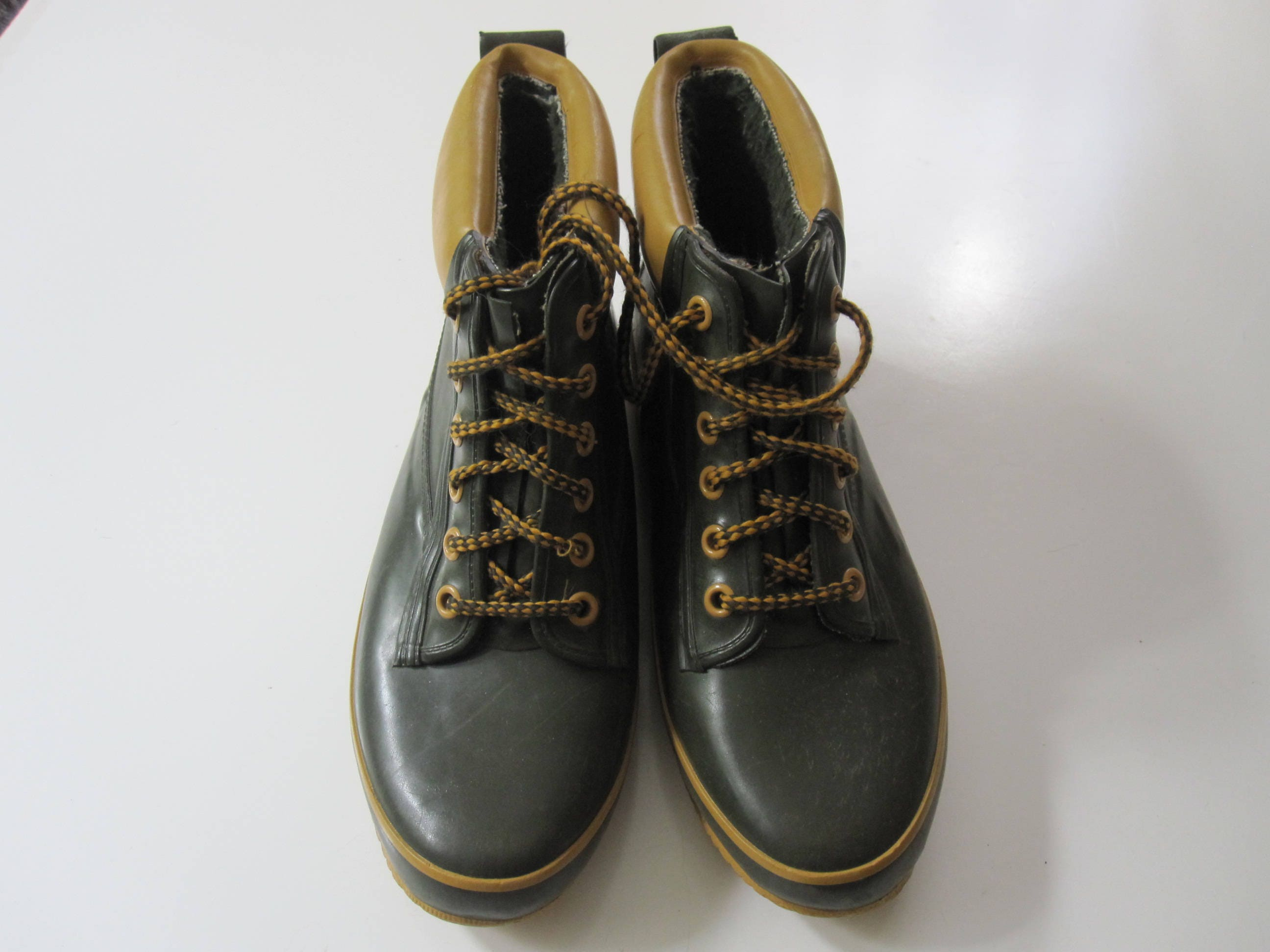 Vintage Rain Boots Sporto Size US Women's 9 Army Green and yellow ...
