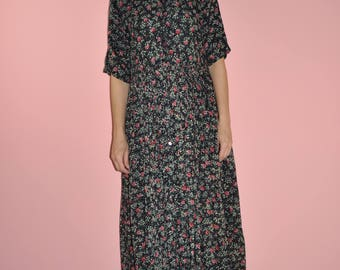 Vintage 90s Black Grunge Button Up Floral Semi Sheer Short Sleeve Duster Maxi Dress S-L