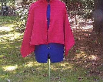 Red Hooded Capelet - Fleece Hooded Cloak - Little Red Riding Hood Costume - Red Halloween Cape - Medieval Cloak - Red Pixie Hoodie Cape