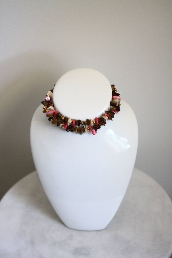 1960s double strand choker // 1960s shell necklace // vintage jewlery