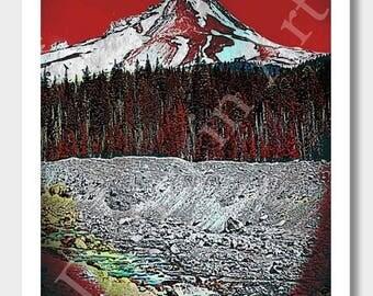 Mount Hood, Mt Hood, Portland Oregon, Art Prints, Nature Art, Stratavolcano Art, Digital Paintings, Oregon Paintings, Volcano Art, Oregon