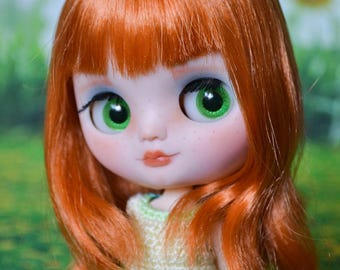 Ooak Custom Factory MIDDIE Blythe Doll - With Mid Length Orange Hair - Amelia