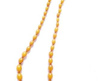 Antique Bakelite Necklace 29 inches - Art Deco Amber Necklace 83g - Genuine Butterscotch Bakelite Beads 75 cm - Matinee, Opera Length