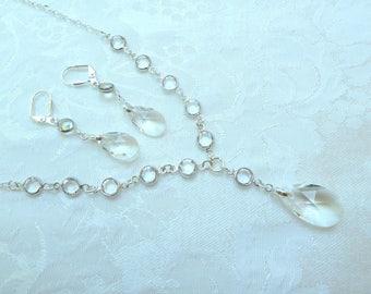 Swarovski Link Bridal Set- Swarovski Clear Link Necklace- Swarovski Pear Pendant- Swarovski Pear Earrings-Swarovski Silver Link Neckalce-643