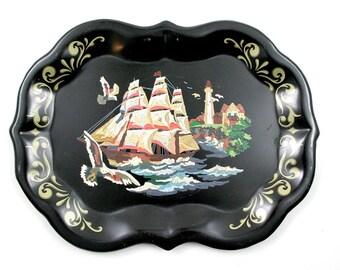 Black Nautical Handpainted Tray