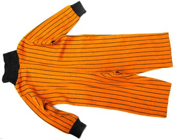 1964 Striped Pooh Pajamas Vintage Sears Collection Hunny Orange Carrot Jammies 1960s Sleeper Navy Blue Turtleneck Tigger Stripes Baby Onesie