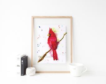 Cardinal art print - colorful cardinal art, cardinal lover art, bird art, redbird art, cardinal nursery art, cardinal angel art, cardinal