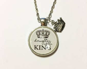 Daughter of the King personalized message necklace
