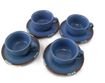 Vintage Dansk Mesa Sky Blue Cup and Saucer Set of 4