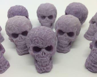 Skull Wax Melts x 10, Skull Candle, Day of the Dead, Sugar Skull, Purple Skull, Gothic