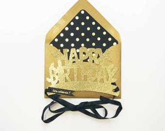 Gold Happy Birthday Glitter Crown Card