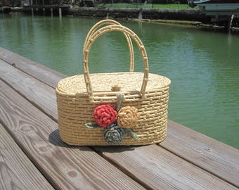 Vintage Basket Bag - Straw Purse - Summer Beach Bag with Flowers - Structured Top Handle - 1960s