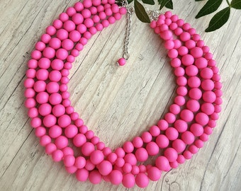 Hot pink necklace, Fuchsia necklace, Fuchsia four strand beaded necklace, Hot pink beaded statement necklace, Bridesmaid gift,Color blocking
