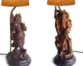 Vintage Carved Wood Asian Lamps Chinoiserie Decor Table Lamp Pair Samurai  Warrior Japanese Fisherman Chinese Lamps