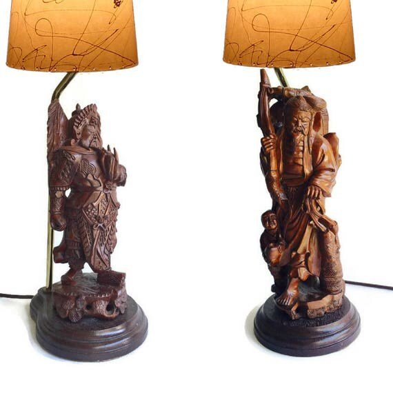 Like this item? - Vintage Carved Wood Asian Lamps Chinoiserie Decor Table Lamp