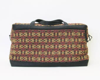 Weekender/Carpetbag/Carry-On--Intricate Woven Check Design
