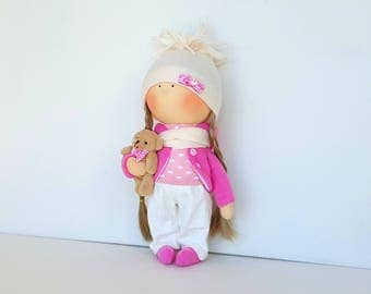 Elisa Doll Handmade Doll Fabric  Doll Textile Doll Handmade Doll Home Decoration Doll Interior Doll Decor Doll Handmade Toy Doll with bear