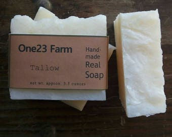Tallow - Plain, Lavender, Rosemary // Natural Unscented Old Fashioned Lye Soap