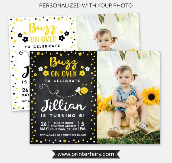 bee birthday invitation with photo bee birthday party personalized
