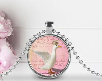 Goose Pendant, Goose Necklace, Goose Jewelry, Goose with Crown, Mother Goose Pendant, Glass Art Pendant