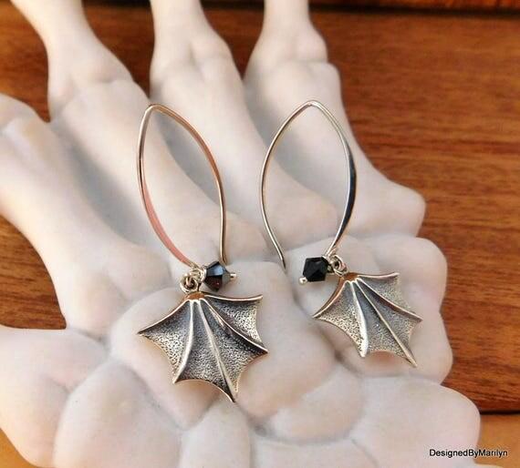 sterling silver bat wing earrings, night creature, goth earrings, halloween jewelry,  personalized jewelry