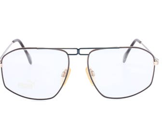 Puma MP7 NOS vintage brown/blue/gold aviator eyeglasses frames made in west Germany by Licefa