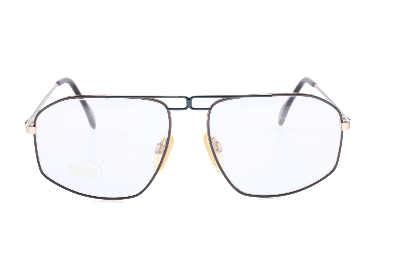 Puma MP7 NOS vintage brown/blue/gold aviator eyeglasses frames made ...