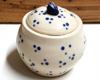 Lidded Jar with Blue Dots!