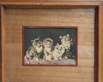 Small Vintage Antique Precious KITTENS Framed Litho Print with Wood Frame - Cats 6.75 by 5.75""