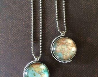 World Necklace - World Necklace Silver - World Globe - World Globe Pendant - World Globe Necklace - World Jewelry - World Pendant - Map