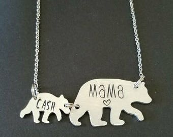 Mama Bear- Baby Bear- Hand Stamped Necklace- Mother's Day- New baby- Gifts for Her- Personalized Jewelry- Love- Custom Necklace- Parent Gift