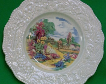 "Vintage Crown Ducal Ware (England) 11"" Dinner Plate, Landscape"