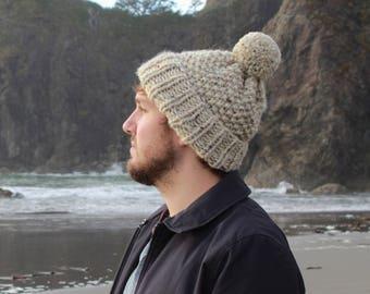 Men's Chunky Knit Pom-Pom Wool Hat Fold-Over Cuff | THE DUBLIN