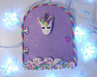 Unicorn fairy etsy for Rainbow fairy door