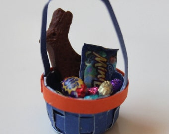 1/12th Scale Miniature Dollhouse Easter Basket (Blue)