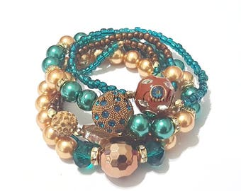 Bronze, Gold, Teal, Brown, Beaded Bracelet Stack, Stretchy, Bracelet Set, Womens Jewelry, Boho, Custom, Handmade, Beaded Jewelry