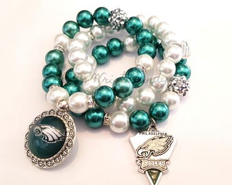 Philadelphia Eagles Beaded Bracelet, Football Bracelets, Team Spirit,White  Green, Stretchy Bracelets, Womens, Handamade, Custom Jewelry