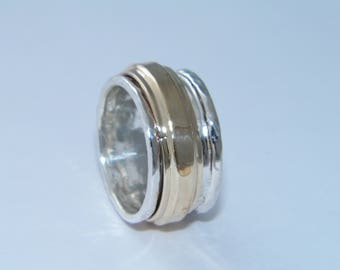 Hand Made Hammered .925 Sterling Silver and Brass Spinner Ring-Custom Size