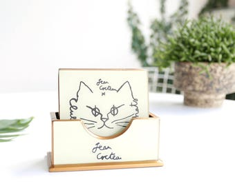 Resin and wood coasters, Jean Cocteau cat drawing / vintage