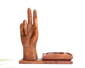Carved wood hand sculpture + dish, vintage jewelry display 1970s / lucky charm, talisman, good luck, boho chic, folk, bohemian, human body
