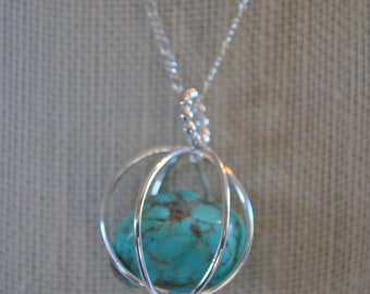 Turquoise stone and sterling silver pendant necklace, handcrafted necklace, metal necklace