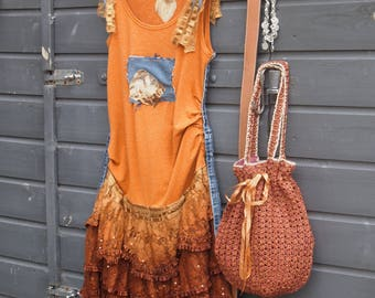 Rusty Brown, Boho Dress, Altered Shabby Chic Mori Girl, Cowgirl Look, Summer ,Dress, Upcycled, Restyled,Feminine, Western Dress, Size M