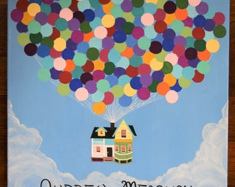 Alternative Guest Book Wedding Decoration Disney Pixar UP House Clouds Balloons Signatures Guestbook Sign