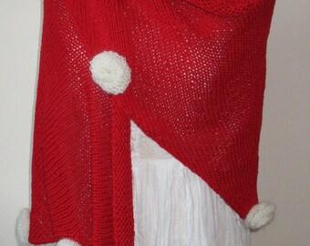 Châle tricoté main en 100% soie rouge, pour toutes occasion