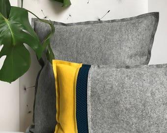Wool pillow grey basis colour, felt with wool crochet pillow